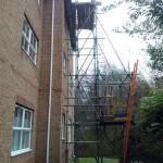 Three storey scaffolding tower